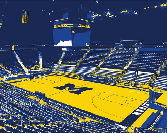 University Of Michigan Crisler Center Basketball Arena Print Wolverines Man Cave Father S Day Graduation Groomsman Basketball Wall Art
