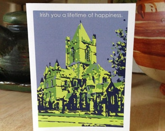 Irish engagement card, wedding card, Architecture note card, graphic illustration, Christ Church Cathedral, Dublin Ireland