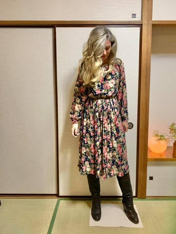 Rose Print Japanese Vintage Dress