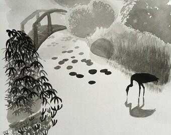 """Print, Japanese Garden in Sumi Ink, 8"""" x 8"""""""