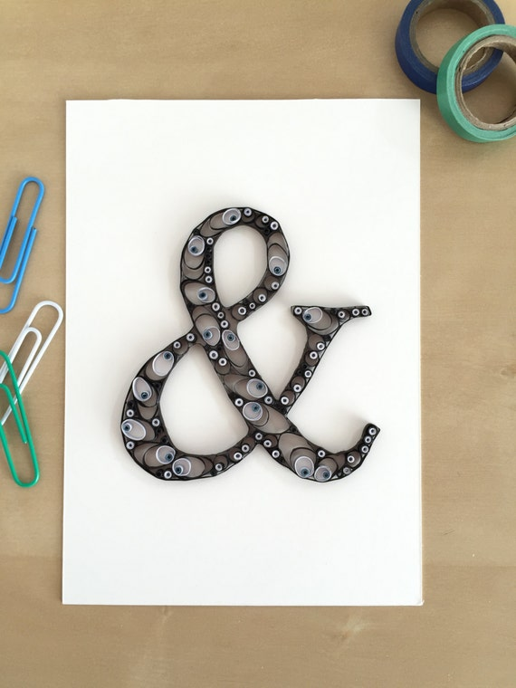 Quilling Paper Ampersand Symbol Home Decor Typography Decor Etsy