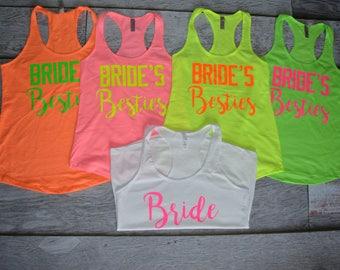 c0ebc3bc9ea4af Bachelorette Party Shirts Neon Colors Bride s Besties Bride to Be Beaches  Racerback Tank Top