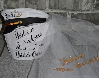 0cf5a564 bride captain hat with veil, bride's captain hat, bride's crew hat, skipper,  yacht - sailor bachelorette hat, nauti bride hat,