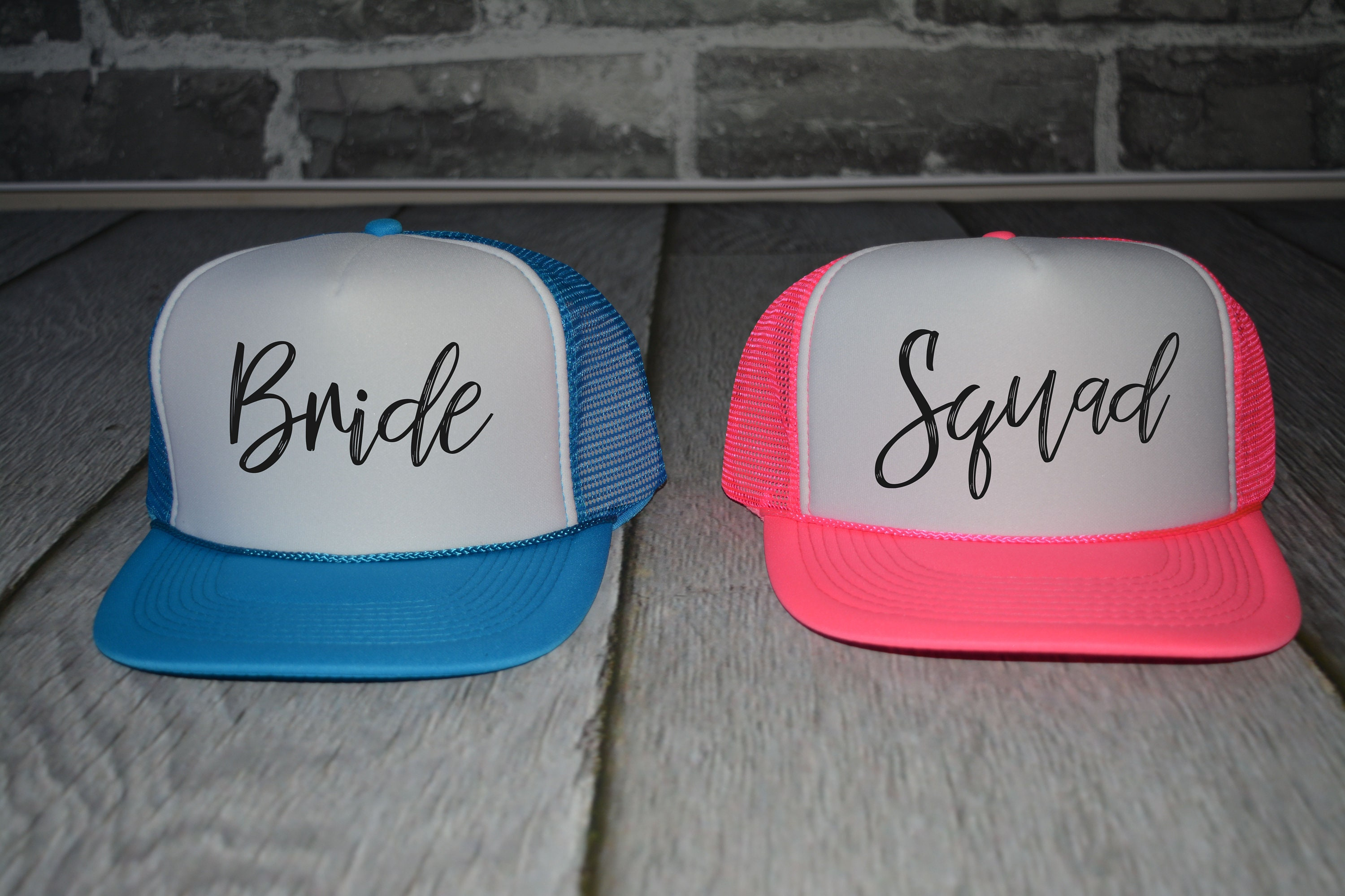 e5df0fd1253ff Neon Bachelorette Party Hats Beach bride trucker hat squad