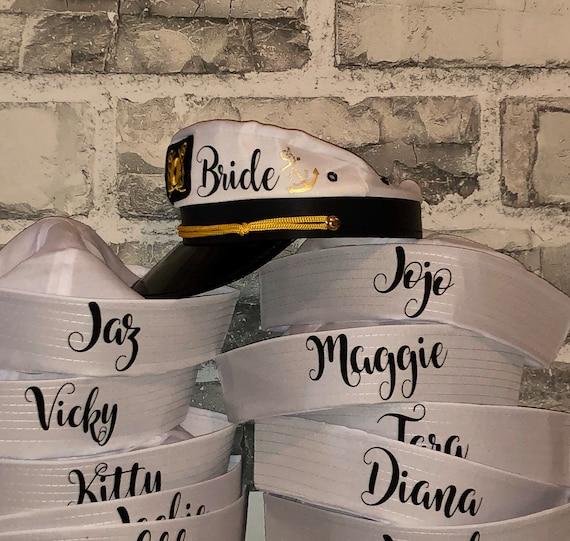 bride/'s crew hat skipper,sailor bachelorette hat glitter bride/'s captain hat nauti bride hat gold writing bride captain hat with veil
