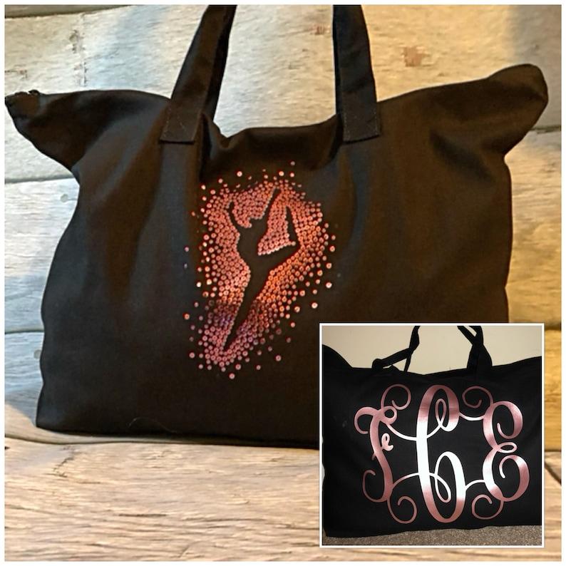 large dance bag dancer tote bag Monogram dance tote Personalized Tote Bag sequin dancer dance bag Dance Tote Bag