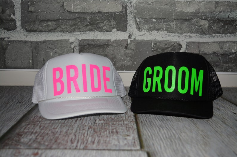 aedb735dec8 Neon Bachelorette Party Hats Bride and groom trucker hats