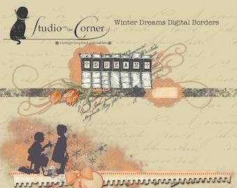 Six Digital Borders, Scrapbooking Borders, Layered Borders for Scrapbooking,