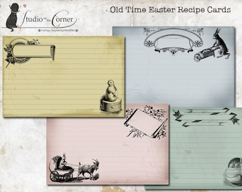 Easter Recipe Cards, Easter Cards, Vintage Recipe Cards, 4x6 inch Recipe Cards, Instant Download