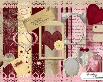 Digital Valentine Scrapbook Kit, Digital Scrapbook Kit, Valentine Scrapbook Kit, Digital Valentine Kit, Printable Scrapbook KIt