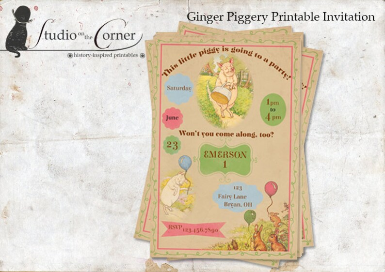 Ginger Piggery Party Invitation Birthday Invitation image 0