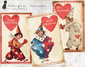 Printable Valentine, Vintage Valentine, School Valentines, Clown Valentine, DIY Valentine Cards, Valentines for Kids, Digital Valentines