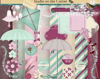 April Days Digital Scrapbook Kit, Digital Paper, Digital Background, Digital Embellishment, Scrapbook Kit, Digital Clip Art