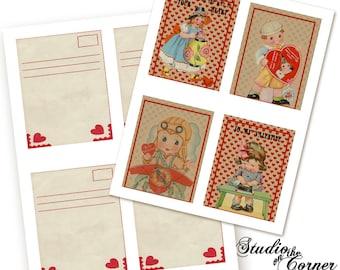Printable Vintage Valentine Cards, DIY Printable Cards, Vintage Cards, Digital Cards, Vintage Valentines,