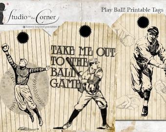Play Ball Printable Gift Tags, Baseball Gift Tags, Gift Tags for Him, Vintage Baseball Tags, Instant Download