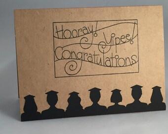Congratulations Graduation card, silhouette of grads hooray, yippee, simple handmade greeting card