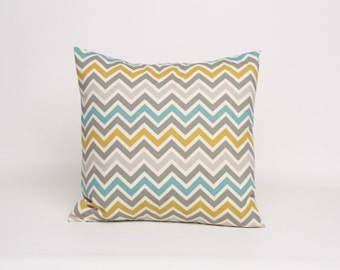 16 x 16 Throw Pillow, Blue Gray and Green Chevron Pillow, 16 x 16 Pillow Cover in Gray Green and Blue, Gray Blue and Green Sham Summerland