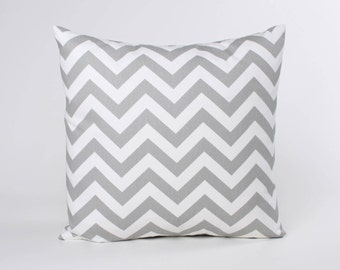 Gray Throw Pillow Cover, Premier Prints Storm Gray ZigZag Pattern. Gray Chevron Pillow Covers designed to fit 16, 18, 20 or 22 Inch Inserts