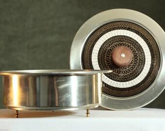 Vintage MID CENTURY Durabrass Frederick Buehner-Wanner Food Casserole WARMER Dish Pot