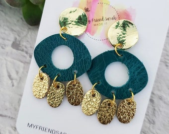 Chandelier Art Earrings Faux Leather arch with heart drops
