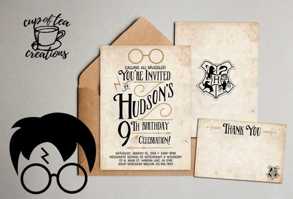 Harry Potter Invitation Harry Potter Birthday Invitation Etsy