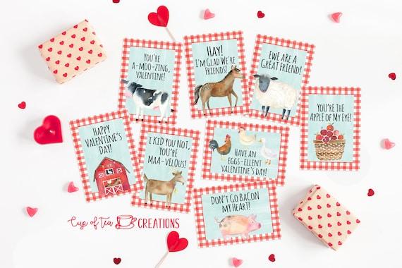 Farm Valentine Cards Farm Valentines Farm Animal Valentines