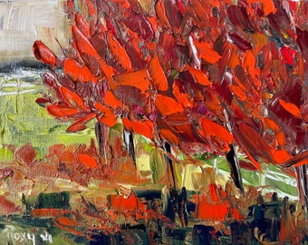 Abstract Thick Texture Maple Tree Landscape 8x6 Original Oil Landscape Painting Framed