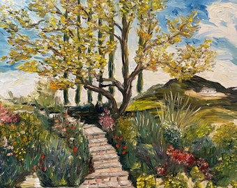 Garden Landscape 30 x 30 Enhanced Giclee Print The Olive tree at Gershon Bachus Vintners Temecula