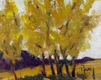 Fall Cottonwood Trees Landscape original Painting 4x4
