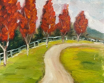 Maple Tree-Lined Drive Landscape  painting 6 x 6 Original Oil painting Framed