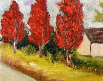 Maple Tree-Lined Drive with Barn Landscape  painting 6 x 6 Original Oil painting Framed