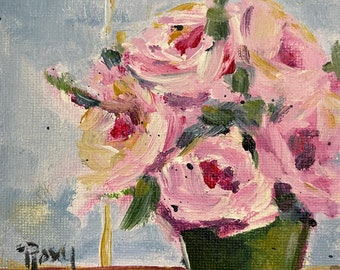 Roses by the Window Original Painting 4 x 6 Acrylic