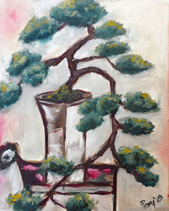 Cascading Bonsai Tree In A White Vase Original Oil Painting Etsy
