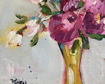 Peonies Original Painting 4 x 6 Acrylic