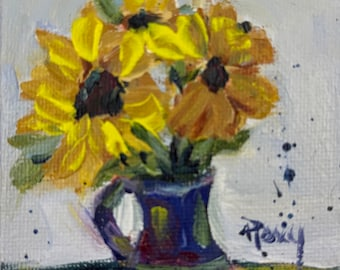 Sunflowers Miniature flowers painting 2.5 2.5 with stand Acrylic painting