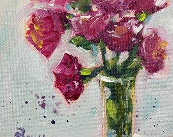 Carnations Original Painting 4 x 6 Acrylic