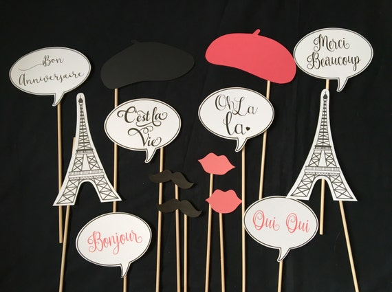 Paris Themed Photo Booth Props Etsy