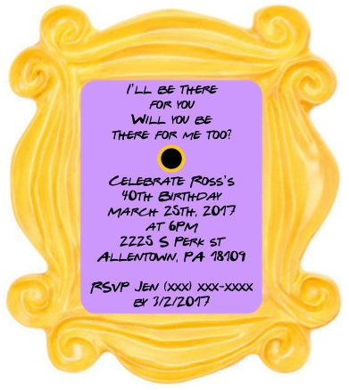 Friends TV Show Themed Party Invitation Digital