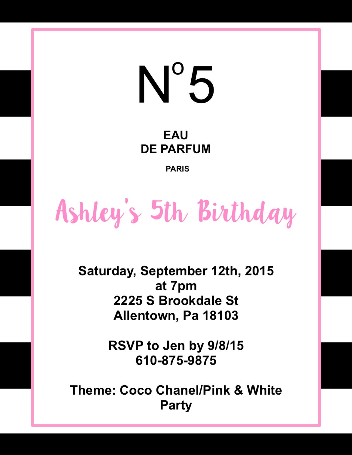Coco Chanel Inspired Party Invitation Digital