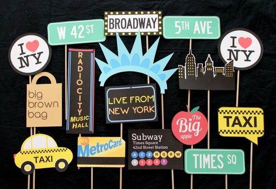 New York City Themed Photo Booth Props Etsy