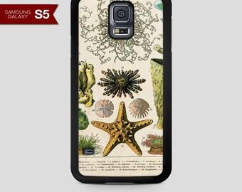 Cell Phone Case Samsung Galaxy S5 Vintage Ocean Life Design Number 116 Black Rubber Case