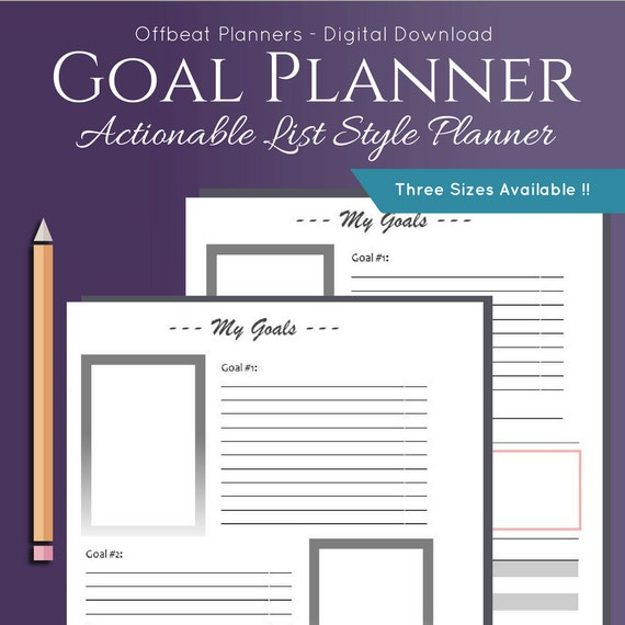 goal setting planner weekly monthly or yearly goal tracking etsy