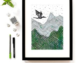 Nature print mountain art landscape painting, modern illustration print graphic art scandinavian print ink drawing minimalist art hand drawn