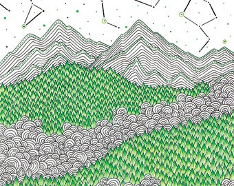 Mountain print landscape art ink drawing, doodle art scandinavian print nature illustration graphic art print hand drawn art modern print