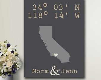 Custom Coordinates / Housewarming Gift / Home Decors art / Gps Coordinates / Gift for the couple / Custom maps / State map print /Guestbooks