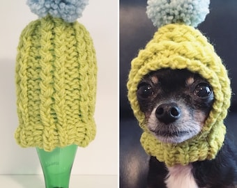 Chartreuse - Knit Wool Hat for Small Dog - Puppy Hood - Chihuahua Clothes -  Warm Winter Dog Beanie - Snood 4748901e497