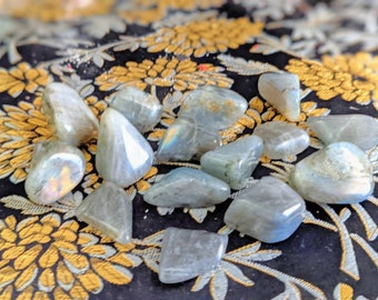 Tumbled Labradorite, tumbled crystal stone, Wicca witchcraft altar