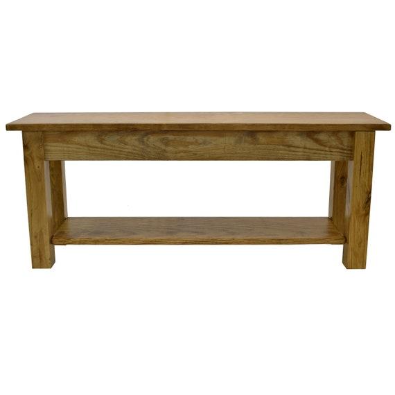 Surprising Ranch Golden Oak Farmhouse Bench With Storage Shelf Rustic Solid Wood Bench Durable Polyurethane Clear Coat Machost Co Dining Chair Design Ideas Machostcouk