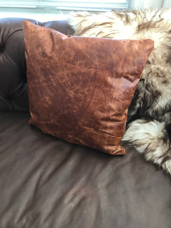Full Grain Leather Pillow / Sofa Pillow / Throw Pillow/ Rustic Country  Pillow