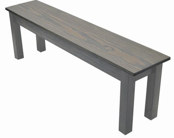Cape Cod Farmhouse Bench, Rustic Solid Wood Bench, Driftwood Grey Bench